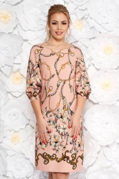 Rózsaszínű LaDonna elegáns a-vonalú ruha virágmintás enyhén rugalmas anyag