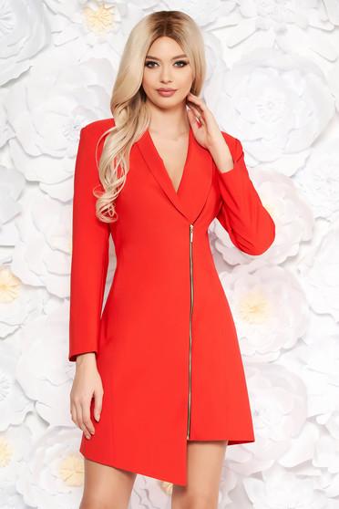 Piros LaDonna elegáns zakó tipusú ruha rugalmatlan szövet belső béléssel hosszú ujjak