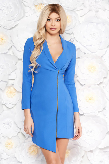 Kék LaDonna elegáns zakó tipusú ruha rugalmatlan szövet belső béléssel hosszú ujjak