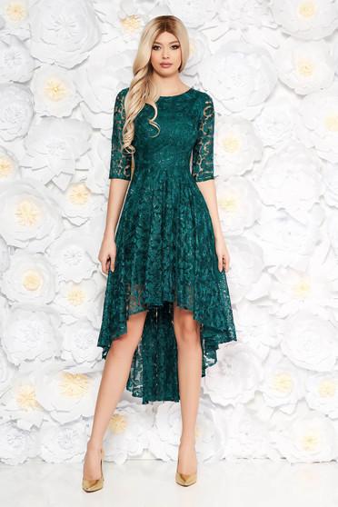 Sötétzöld estélyi ruhák ruha aszimetrikus csipkés anyag flitteres díszítés belső béléssel