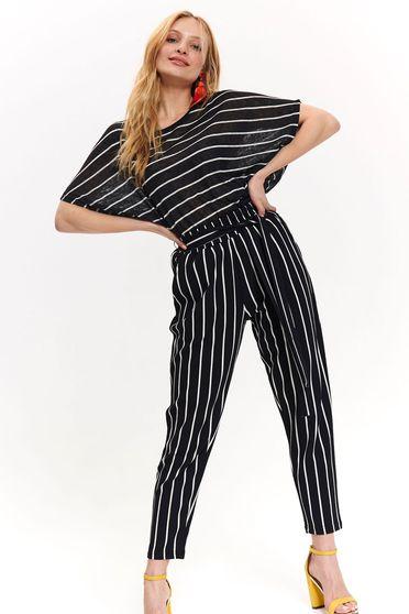 Fekete Top Secret casual nadrág vékony anyag magas derekú övvel ellátva csíkos