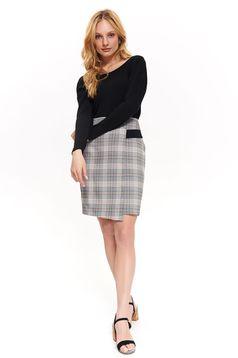 Fekete Top Secret irodai szoknya egyenes magas derekú rugalmatlan szövet kockás