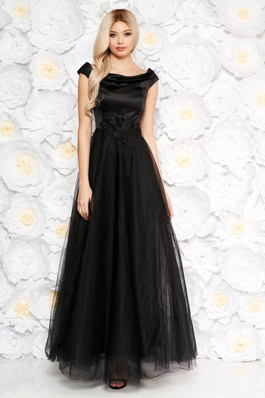 Fekete Artista alkalmi ruha tüll és szatén anyagból csipke és gyöngy díszítéssel belső béléssel