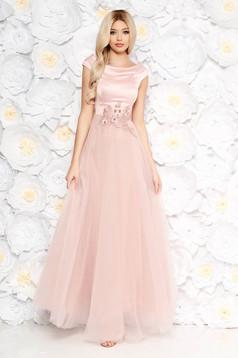 Rózsaszínű Artista alkalmi ruha tüll szatén anyagból csipke díszítéssel gyöngy díszítéssel belső béléssel