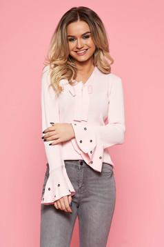 Bő szabású világos rózsaszín casual SunShine női blúz enyhén rugalmas anyag harang ujjakkal