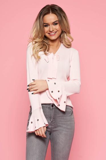 c201e7fe09 Bő szabású világos rózsaszín casual SunShine női blúz enyhén rugalmas anyag harang  ujjakkal