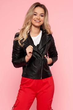 Fekete SunShine casual műbőr dzseki belső béléssel cipzáros zsebekkel