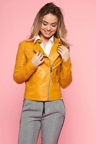 Mustar SunShine casual műbőr dzseki belső béléssel cipzáros zsebek