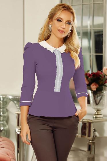 Szűk szabás lila Fofy irodai női ing enyhén elasztikus pamut csipke díszítéssel gyöngy díszítéssel
