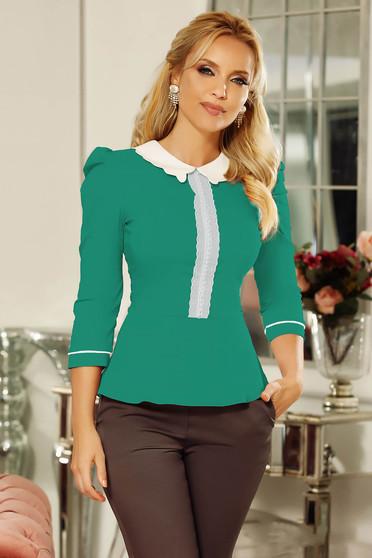 Szűk szabás türkiz Fofy irodai női ing enyhén elasztikus pamut csipke díszítéssel gyöngy díszítéssel