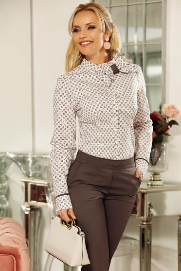 a406b05aa0 Rózsaszínű Fofy női ing irodai enyhén elasztikus pamut szűk szabás masni  díszítéssel