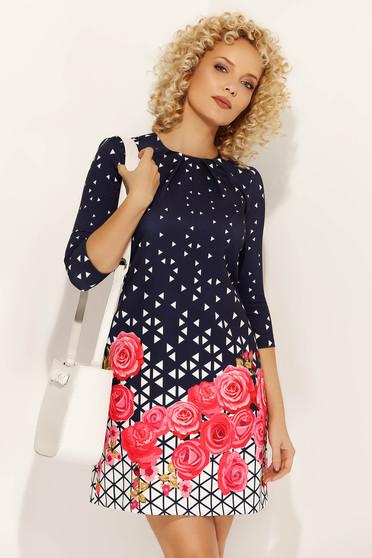Pink Fofy hétköznapi a-vonalú ruha finom tapintású anyag virágmintás díszítéssel