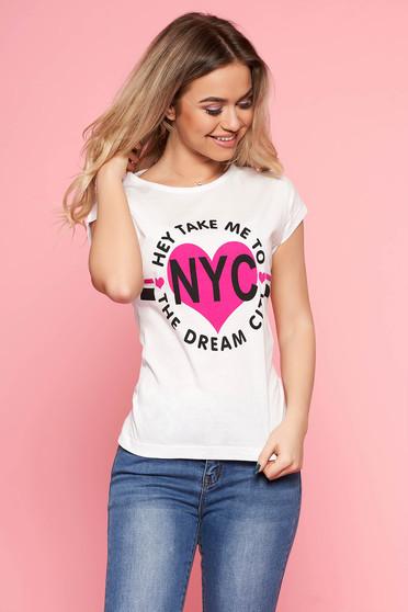 Rövid ujjú fehér SunShine póló írásos mintával