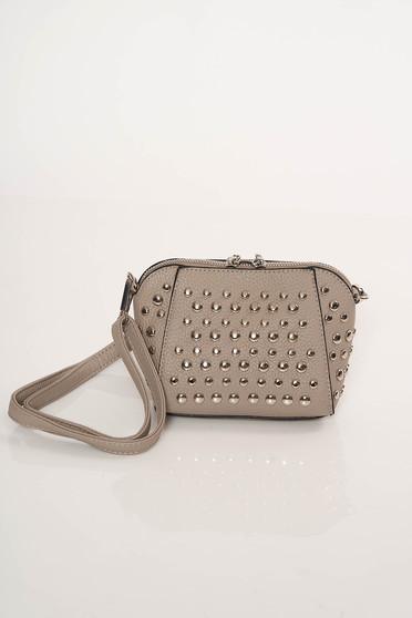 8c0a3b2a6f18 Szürke Top Secret casual táska hosszú, állítható pánt fémes szegecsekkel