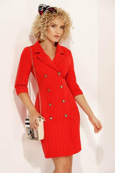 e6c122d15a Piros Fofy ruha irodai zakó tipusú enyhén rugalmas anyag v-dekoltázzsal