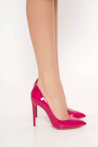 Fukszia elegáns stiletto cipő magassarkú
