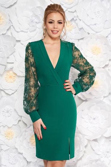 Sötétzöld elegáns ceruza ruha csipke ujj v-dekoltázzsal enyhén rugalmas anyag