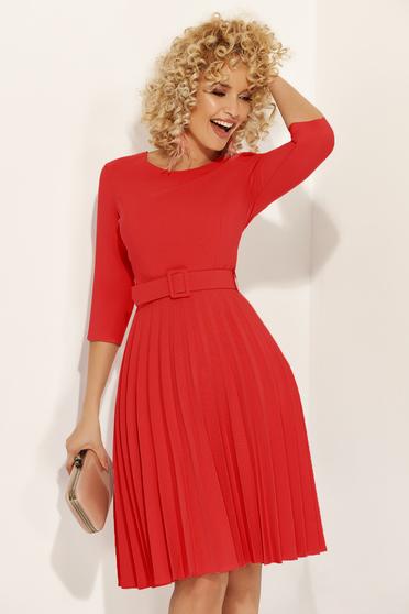Piros Fofy elegáns rakott harang ruha övvel ellátva enyhén elasztikus szövet