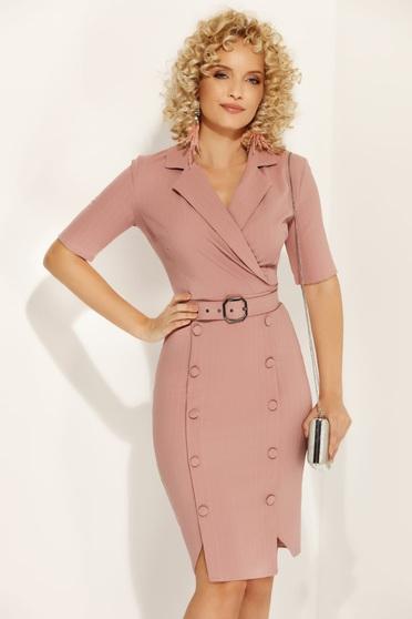 Rózsaszínű Fofy irodai ceruza ruha enyhén rugalmas anyag gomb kiegészítőkkel öv típusú kiegészítővel