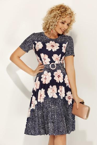 Rózsaszínű Fofy hétköznapi harang ruha virágmintás enyhén rugalmas anyag öv típusú kiegészítővel