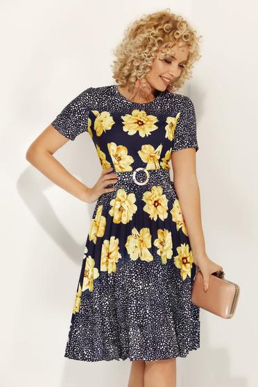 Sárga Fofy hétköznapi harang ruha virágmintás enyhén rugalmas anyag öv típusú kiegészítővel