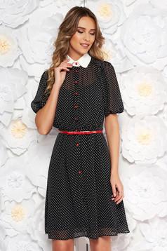 Fekete PrettyGirl elegáns hétköznapi harang ruha fátyol anyag pöttyös öv típusú kiegészítővel