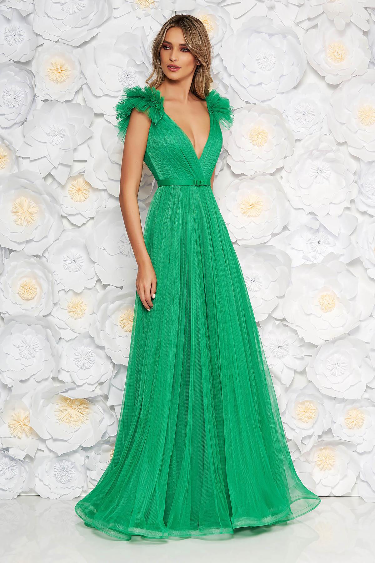 a37a819ff4 Világos zöld Ana Radu tüll ruha belső béléssel mély dekoltázs szivacsos  mellrész