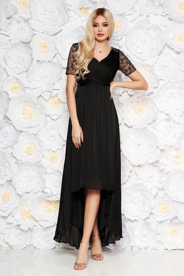 59da48005a Fekete Artista alkalmi aszimetrikus ruha vékony anyag belső béléssel  flitteres díszítés