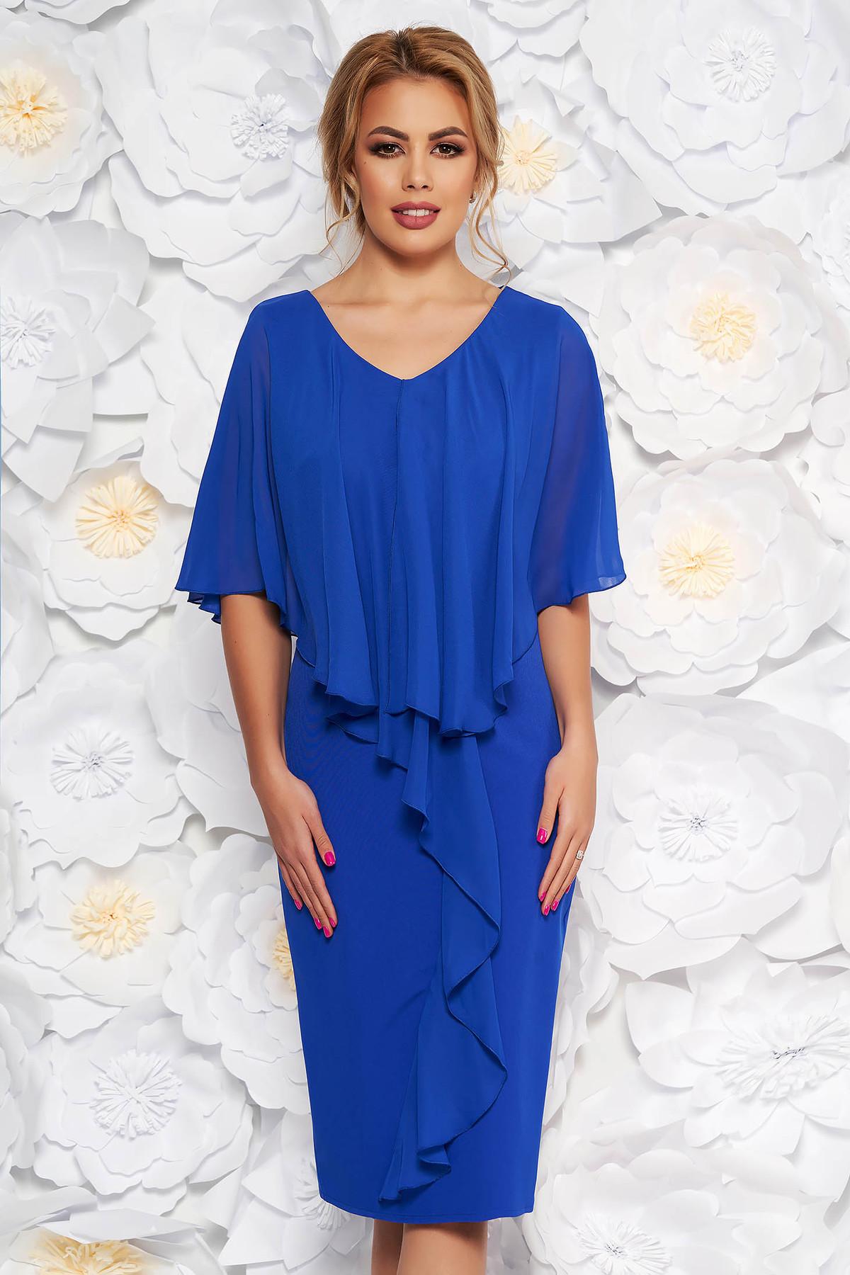 830d34c7dc Kék alkalmi midi ruha ujjatlan karcsusított szabás enyhén rugalmas szövet  fátyol anyagátfedés