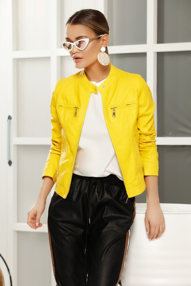 fe8cb200f7 Sárga casual dzseki műbőr belső béléssel egyenes szabás